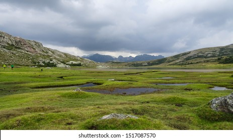 pozzines (water wells) near Nino Lake (Lac du Nino), tranquil green natural scenery seen while hiking on hiking trail GR20 leading through Corsica, french island in Mediterranean Sea, France, Europe