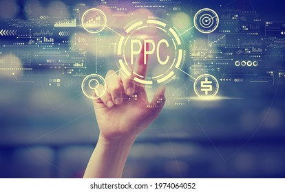 PPC - Pay per click concept with a hand pressing a button at night