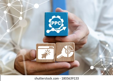 PPC Pay Per Click Web Business Promotion SEO Digital Marketing Concept.