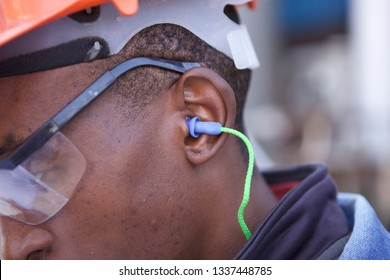 PPE Ear protection, hard hat, safety goggles