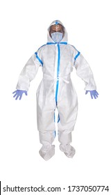 PPE personal protective equipment for airborne contaminants.Complete Protection Kit Full Body Medical Coverall Suit, facial shield, respirator mask N95 ffp3, gloves, shoe covers, plastic googles.