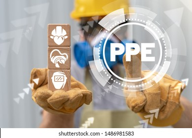 PPE Personal Protective Equipment Required Industry concept. Safety health and work accessories.