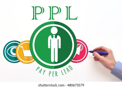 PPL. Pay per lead sign on white background.