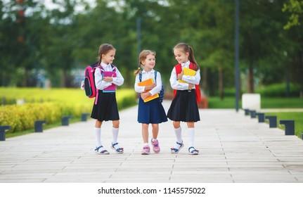 ppy children girls girlfriend schoolgirl student elementary school - Shutterstock ID 1145575022