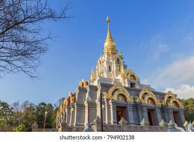 Prabaromathat chedi srinakarindra satismahasantikiri pagoda in Wat Santikhiri Temple Mae Salong, Chiangrai, nothern Thailand in the morning