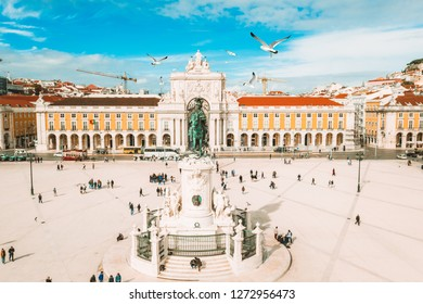 Praca do Comercio (Commerce square) and statue of King Jose I in Lisbon in a beautiful summer day, Portugal