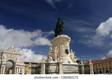 Praca do Comercio (Commerce Square), Statue of King Jose I and Rua Augusta Arch, Lisbon, Portugal