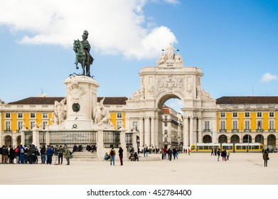 The Praca do Comercio (Commerce Square) with Statue of King Jose I by Machado de Castro and the arch in Lisbon, Portugal