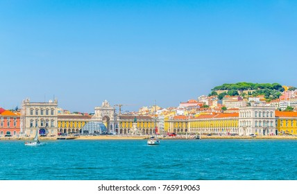 praca do comercio square with the saint george castle in Lisbon viewed from Tajo river, Portugal.