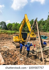 PRACHIN BURI, THAILAND - 25 JULY: Construction of high-tension hand-tied pillar foundation and control of high-voltage pillar foundation.