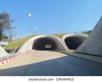 Prachin Buri, Thailand - January 20, 2019: The tunnels of Highway 304 on Kabin Buri - Pak Thong Chai Road at 09.28 AM