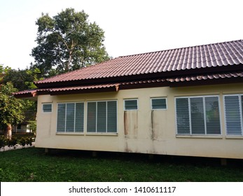 "Prachinburi Province, Thailand. - May 19, 2019 : Guest house for Dharma practitioner at Vipassana Meditation Center ""Dhamma Kamala"".  Guest house / Modern windows / Windows glass louver."