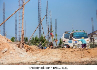 Prachinburi Thailand - FEB 15 2018 : Contractors are controlling workers.  To build by mixing cement. From the CPAC company.