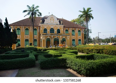 PRACHINBURI, THAILAND - JANUARY 18 : Classic retro and vintage yellow building of Chao Phya Abhaibhubejhr Hospital with statue for Thai people visit on January 18, 2018 in Prachinburi, Thailand