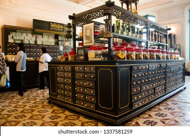 PRACHINBURI, THAILAND - JANUARY 18 : Interior and decor of Traditional drug store at Chao Phya Abhaibhubejhr Hospital for people buy pharmacy and herbal on January 18, 2018 in Prachinburi, Thailand.