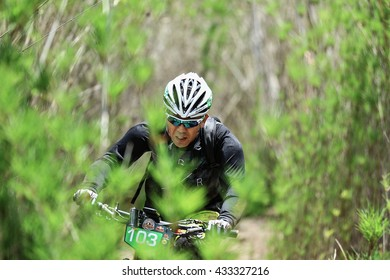 Prachinburi, Thailand -June 05, 2016: Thailand Enduro Series 2016. Mountain bike races at Kao E-TO, which combines cross-country mountain bike downhill, on June 4-6, 2016.