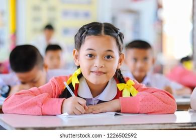 Prachinburi, Thailand, Nov 2, 2018 - Asian students studying in the classroom