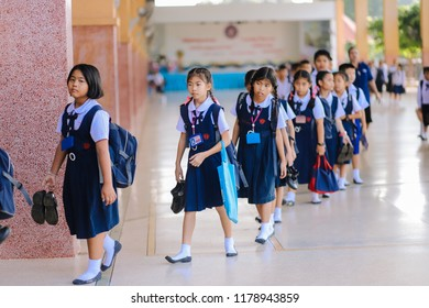 Prachinburi, Thailand, Sep 10, 2018 - Students walking back to their room after morning assemly