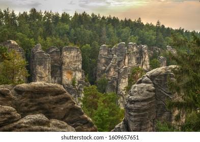 Prachov rock town - Prachovske Skaly in the region of bohemian paradise in the Czech Republic
