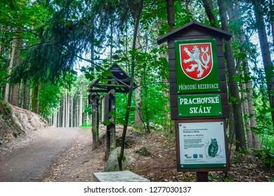 Prachov Rocks - Czech Paradise, Czech Republic - 29 August 2015: Entrance to the Prachov Rocks