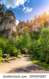 Prachov rocks (Prachovske skaly) in Cesky Raj region, Czech Republic. Sandstone rock formation in vibrant forest. Prachov Rocks, Czech: Prachovske skaly, in Bohemian Paradise, Czech Republic. - Shutterstock ID 1995993587