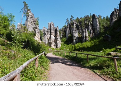 Prachovske Skaly Rock with labyrinth is popular tourist attraction in Bohemian Paradise, Czech Republic