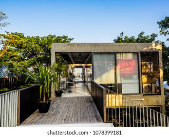 """Prachuap Khiri Khan ,Thailand - April 14 2018 : coffee cafe roof top sea view in """"Seenspace"""" at Huahin ,Thailand"""