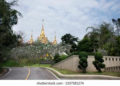 PRACHUAP KHIRI KHAN, THAILAND - JANUARY 30 : Thai people and foreigner travelers visit and praying Phra Mahathat Chedi Phakdi Prakat at Bang Saphan on January 30, 2018 in Prachuap Khiri Khan, Thailand