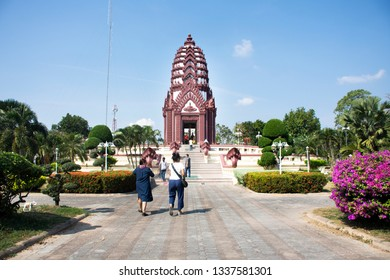 PRACHUAP KHIRI KHAN, THAILAND - JANUARY 30 : Thai people and travelers praying to protect and bring good luck with City Pillar Shrine at center city on January 30,2018 in Prachuap Khiri Khan, Thailand