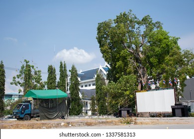 PRACHUAP KHIRI KHAN, THAILAND - JANUARY 30 : Outdoor cinema movies or open air theater for show people in park garden night time at city festivals on January 30, 2018 in Prachuap Khiri Khan, Thailand