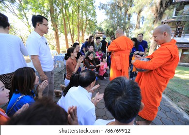 Prachuap Khiri Khan, Thailand January 4, 2018:The monks give merit to those who make merit at Wat Huay Mongkol Hua Hin.