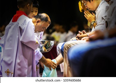 Prachuap Khiri Khan, THAILAND - March 29, 2018: Washing of the feet ceremony, on Holy Thursday, part of Easter celebration, in the Church of Saint Theresa Hua Hin. prachuap khiri khan, thailand.