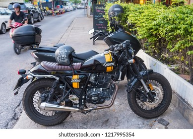 Prachuap Khiri Khan, Thailand- October, 13, 2018 : Bigbike motorcycle brand legend Steed 200CC at Huahin beach of Thailand.