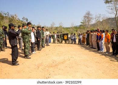PRACHUAP KHIRI KHAN THAILAND,13 MARCH 2016:National Park Service officials and public servants. Joint activities for Elephants Thai Elephant Day at Kui Buri National Park, THAILAND
