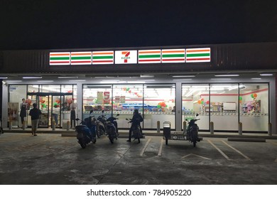 Prachuap Khiri Khun,THAILAND - Jan 1  2018 : 24 hours convenience store 7-11 shop the famous franchise chain of convenience store located on Rai Mai road in Prachuap Khiri Khun,Thailand .