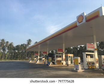Prachuap Khiri Khun,THAILAND - Jan 18 2018 :The Shell gas station located on Phetkasem road in Prachuap Khiri Khun,Thailand .