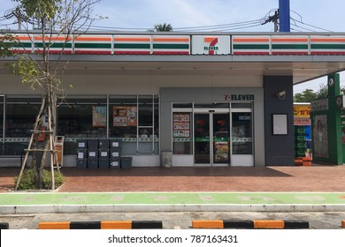 Prachuap Khiri Khun,THAILAND - Jan 5 2018 : 24 hours convenience store 7-11 shop the famous franchise chain of convenience store in Prachuap Khiri Khun,Thailand .