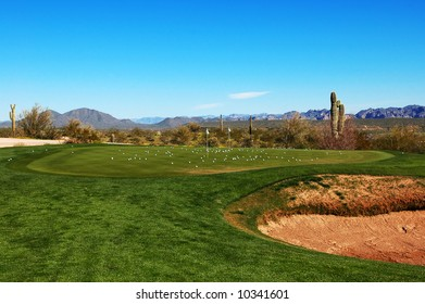 Practice green at the golf course.