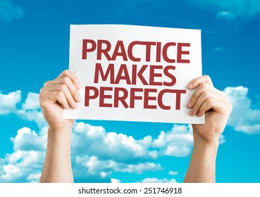 Practice Makes Perfect card with sky background