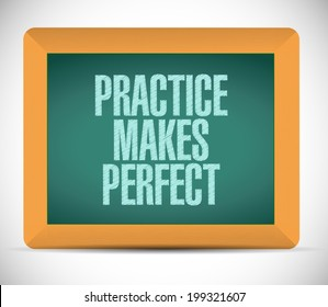practice makes perfect message illustration design over a white background
