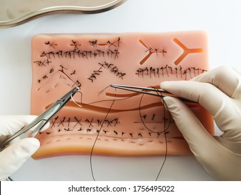 practice stitching on the skin suture silicone pad