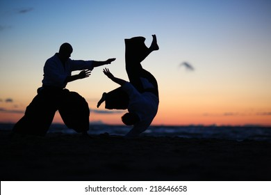 Practicing aikido technique, silhouettes of masters