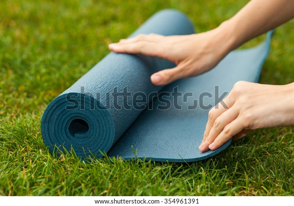 Practicing Yoga Pilates Outdoors Revive Restore Stock Photo