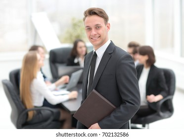 practitioner on the background of business team
