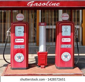 Pradamano, Italy. June 16 2019. Decorative vintage fuel pump Texaco in front of  Rock  60 club