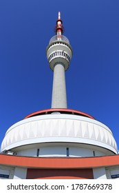 Praded lookout tower and television transmitter - the highest mountain of Hruby Jesenik in northern Moravia in the Czech Republic. Transfer of information, acquisition of important data - Shutterstock ID 1787669378