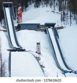 Pragelato, Val Chisone, Piedmont, Italy - March 5, 2006: Structures for ski jumping built for the 2006 Winter Olympics.