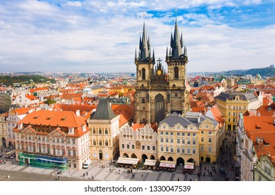 PRAGUA, CZECH REPUBLIC- October, 10: Old town square and Church of Virgin Maria Before Tyn, Prague, Czech republic. One of main attractions of Prague