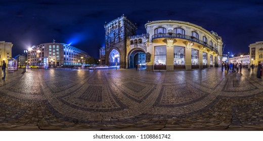 Prague - 2018: 3D spherical panorama of the Powder Tower in Prague at night with 360 viewing angle. Ready for virtual reality. Full equirectangular projection. Night.