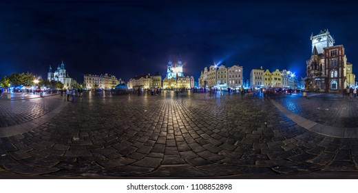 Prague - 2018: Old Town Square at evening. Autumn. 3D spherical panorama with 360 viewing angle. Ready for virtual reality. Full equirectangular projection.